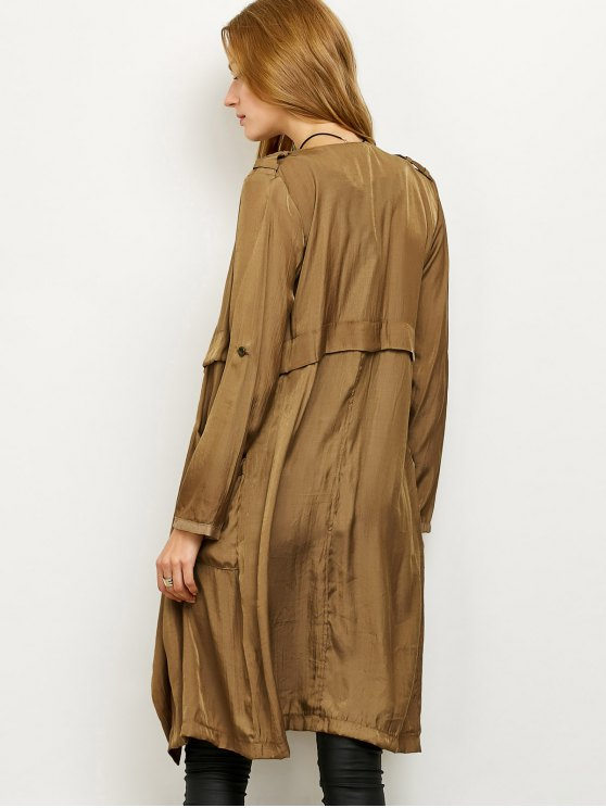 Drape Front Long Duster Coat - DARK KHAKI XL Mobile