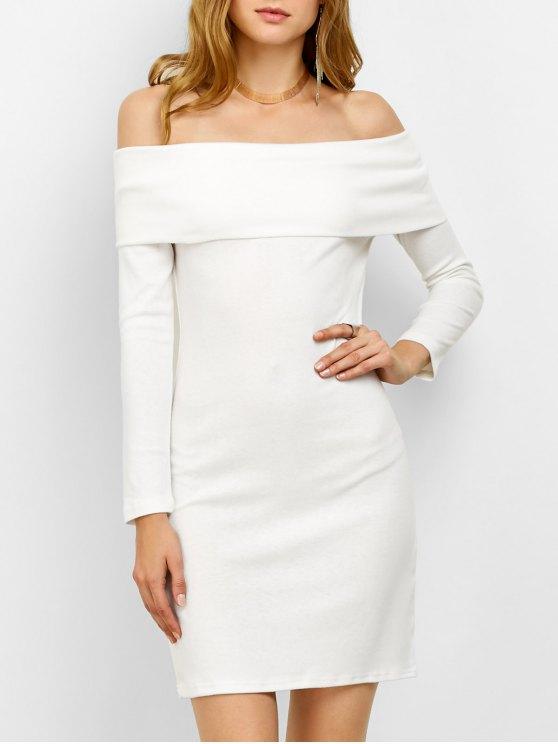 Off the Shoulder Mini Bodycon Party Dress - WHITE S Mobile