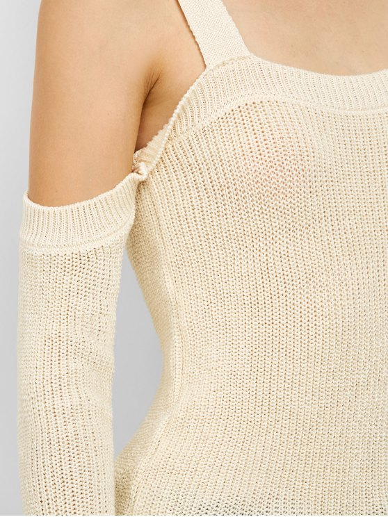 Cold Shoulder Loose Chunky Sweater - OFF-WHITE L Mobile