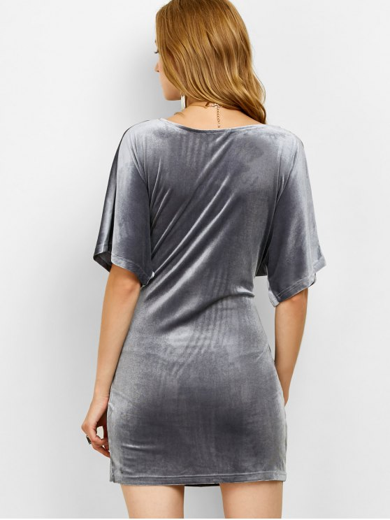 V Neck Twist Front Bodycon Dress - GRAY L Mobile