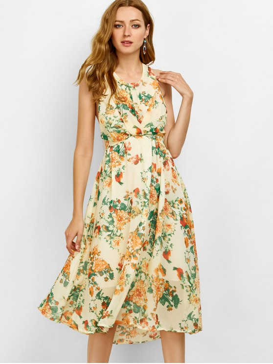 Floral Cut Out Beach Dress - BEIGE L Mobile