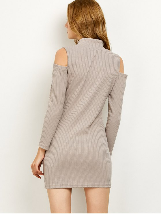 Cold Shoulder High Neck Ribbed Sweater Dress - GRAY L Mobile