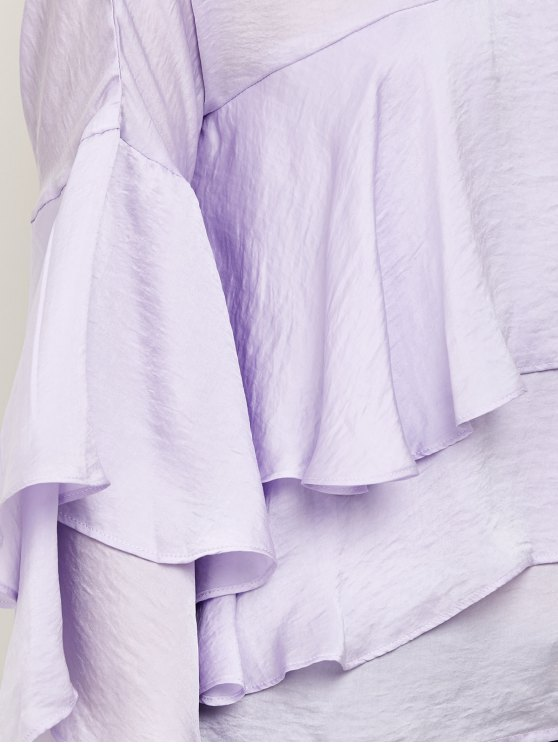 Jewel Neck Ruffles Layered Blouse - LIGHT PURPLE 2XL Mobile