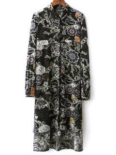 Floral Print Midi Robe Chemise - Noir S