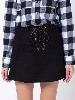 A Line Faux Suede Mini Skirt - Black Xs