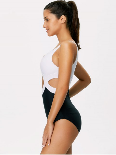 best Color Block Cut Out Swimsuit - WHITE AND BLACK S Mobile
