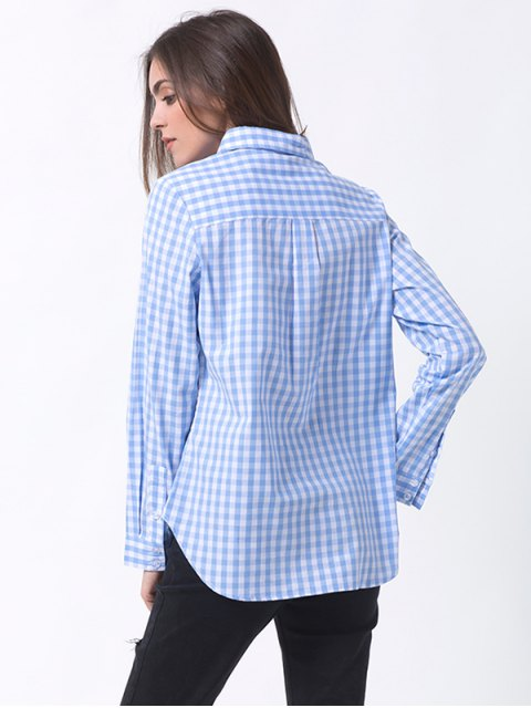 buy Checked Pocket Shirt - BLUE AND WHITE XL Mobile