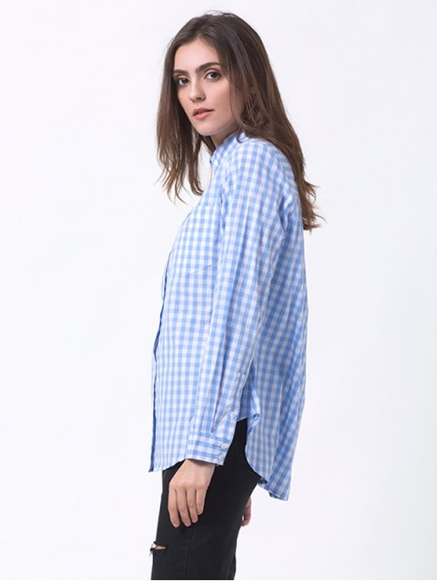 women Checked Pocket Shirt - BLUE AND WHITE M Mobile