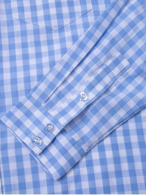 women's Checked Pocket Shirt - BLUE AND WHITE S Mobile