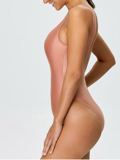 affordable High Cut Backless Swimsuit - PINK M Mobile