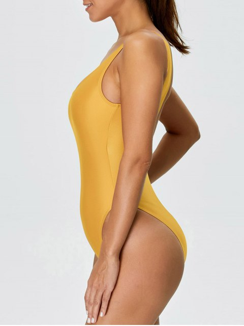 shop High Cut Backless Swimsuit - YELLOW S Mobile
