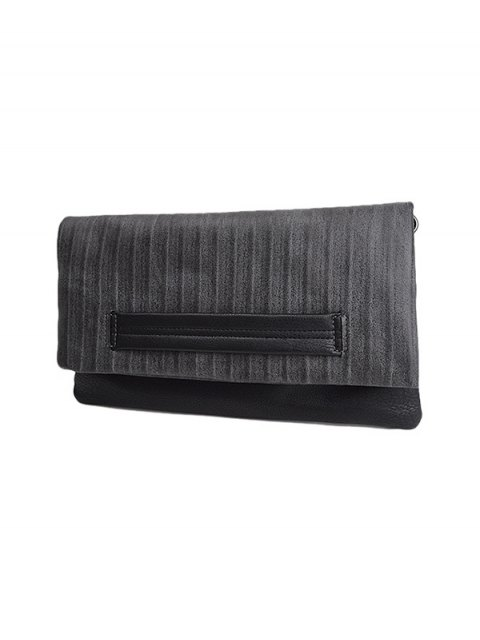 women Stripe PU Leather Magnetic Closure Clutch Bag - GRAY  Mobile