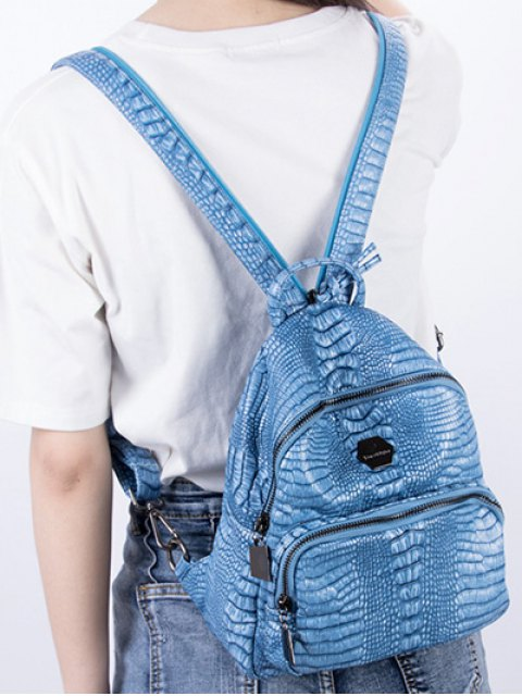 online Crocodile Embossing PU Leather Backpack - BLUE  Mobile