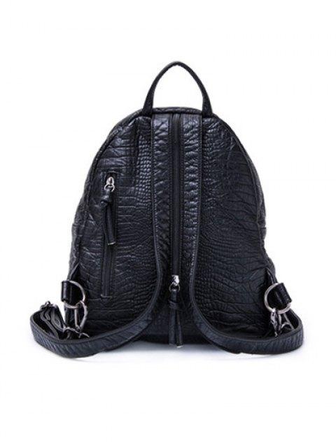 new Crocodile Embossing PU Leather Backpack - BLACK  Mobile