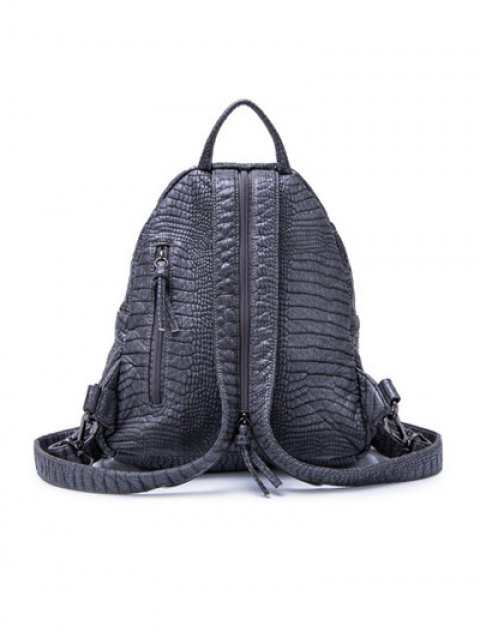 outfit Crocodile Embossing PU Leather Backpack - GRAY  Mobile