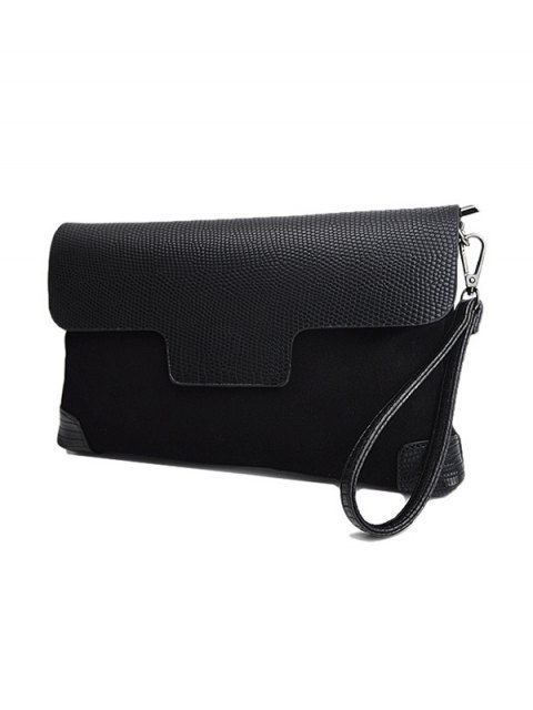 best Magnetic Closure PU Leather Embossing Cluth Bag - BLACK  Mobile