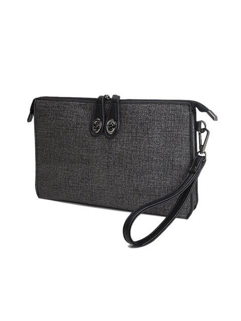 outfits Twist-Lock Zipper Textured Leather Clutch Bag - DEEP GRAY  Mobile