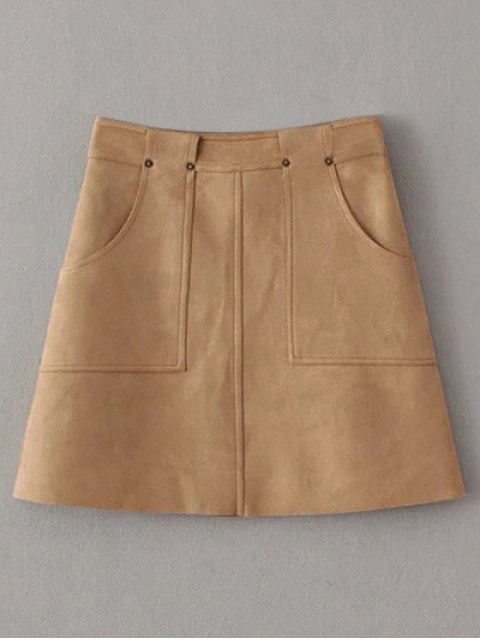 latest A Line Front Pockets Suede Skirt - LIGHT COFFEE M Mobile