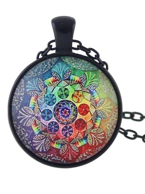 womens Mandala Round Necklace - COLORMIX  Mobile