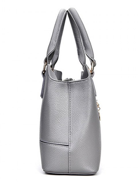 unique Dome Stud Zip Textured Leather Tote Bag - LIGHT GRAY  Mobile