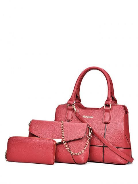 sale Dome Stud Zip Textured Leather Tote Bag - RED  Mobile