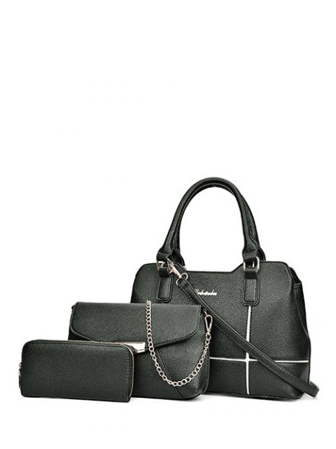 affordable Dome Stud Zip Textured Leather Tote Bag - BLACK  Mobile