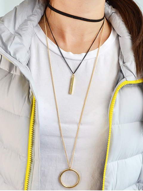 women Circle Layered Necklace - GOLDEN  Mobile