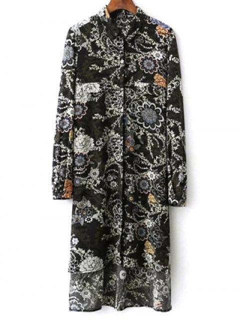 buy Floral Print Midi Shirt Dress - BLACK S Mobile