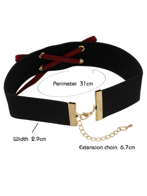 ladies Lace Up Choker - RED  Mobile