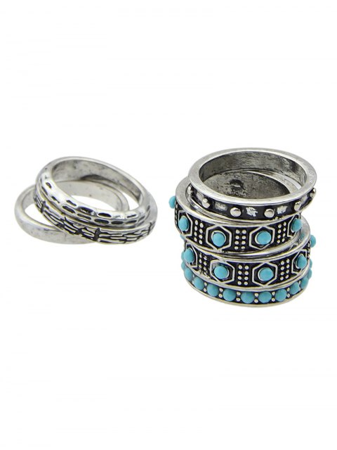 chic Faux Turquoise Rings Set - SILVER  Mobile