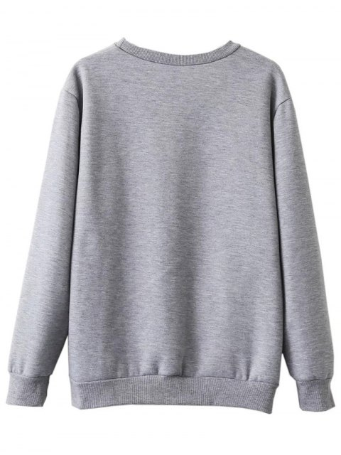 outfit Fleece Lined Glasses Graphic Sweatshirt - GRAY M Mobile