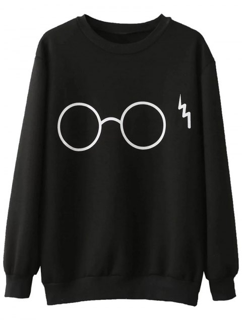 shops Fleece Lined Glasses Graphic Sweatshirt - BLACK M Mobile