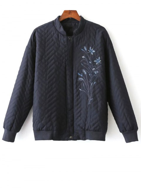 sale Herringbone Quilted Embroidered Jacket - PURPLISH BLUE S Mobile
