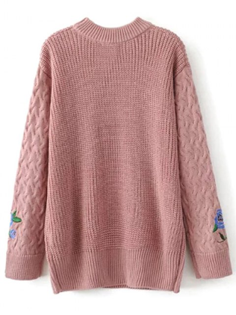 online Oversized Floral Embroidered Sweater - PINK L Mobile