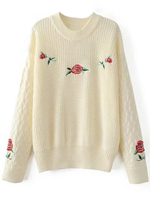 shops Oversized Floral Embroidered Sweater - OFF-WHITE L Mobile