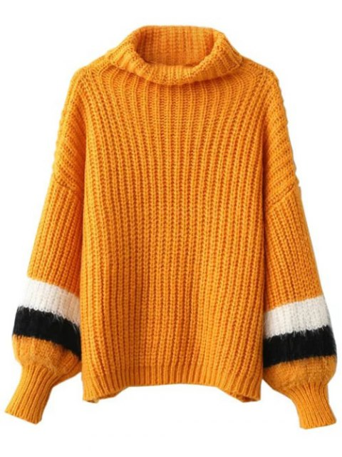hot Striped Puff Sleeve Turtleneck Sweater - EARTHY ONE SIZE Mobile
