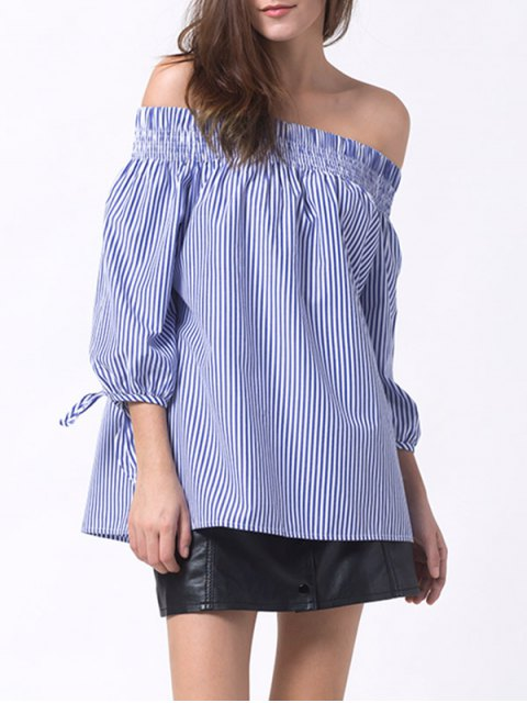 outfit Off The Shoulder Smocked Striped Blouse - BLUE M Mobile