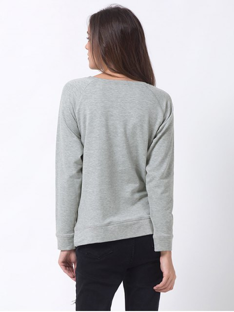 online Basic Raglan Sweatshirt - GRAY L Mobile