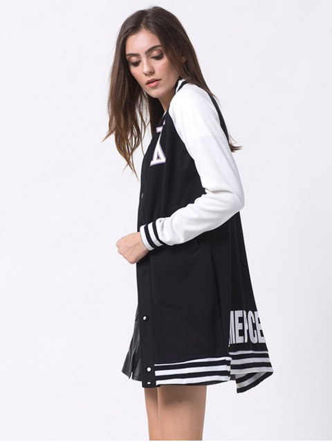 ladies Patched Raglan Sleeve Baseball Coat - BLACK 2XL Mobile