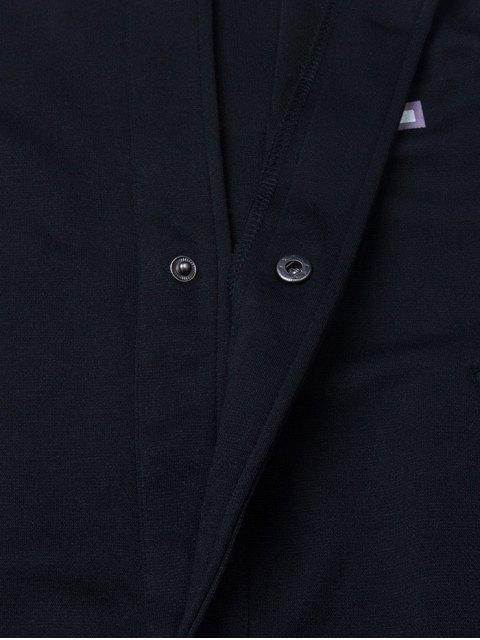 womens Patched Raglan Sleeve Baseball Coat - BLACK XS Mobile