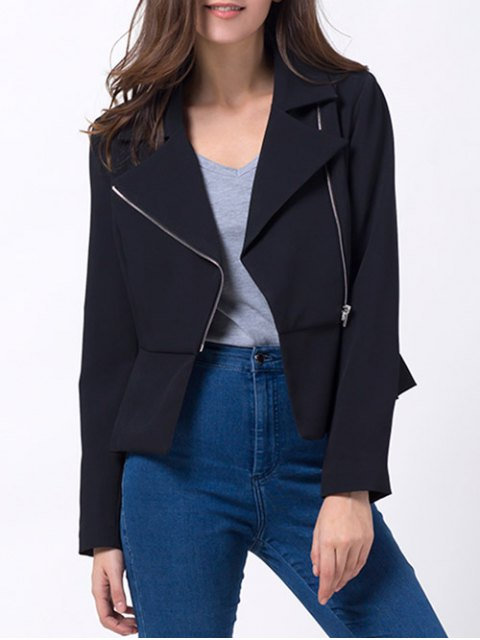 shop Zip Up Asymmetric Peplum Blazer - BLACK XL Mobile