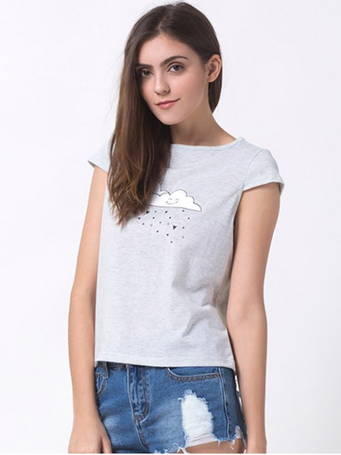 chic Casual Cartoon Print T-Shirt - GRAY S Mobile