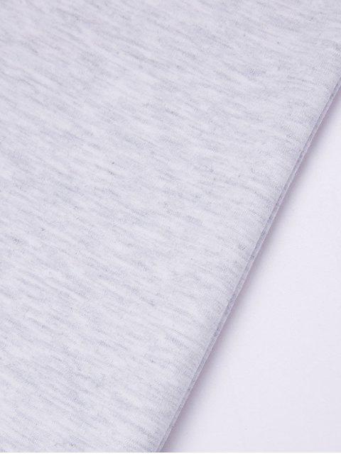 new Mock Neck Letter Print Sweatshirt - GRAY L Mobile