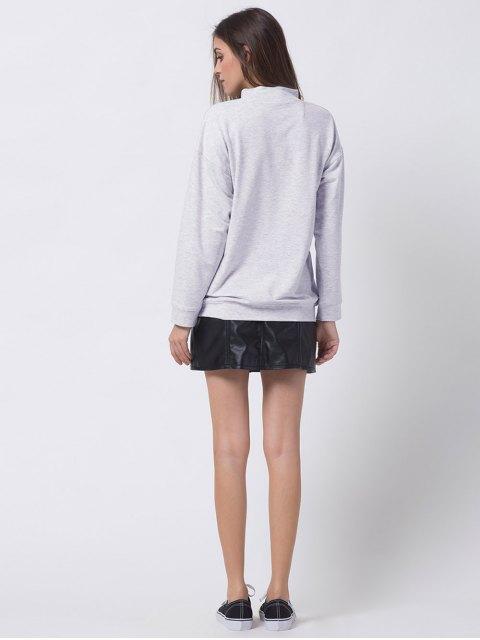 best Mock Neck Letter Print Sweatshirt - GRAY 2XL Mobile