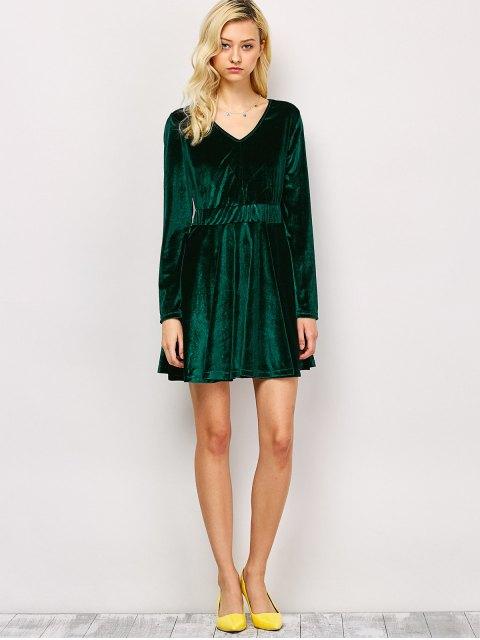 chic Long Sleeve Velvet Thick Mini Swing Dress - GREEN M Mobile