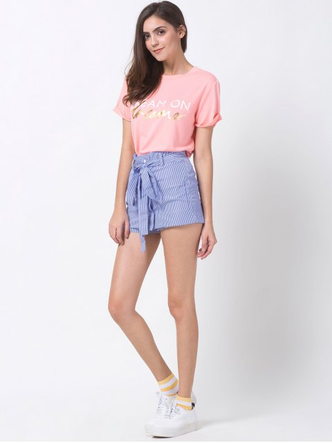 best Graphic Roll Sleeve Tee - PINK XS Mobile