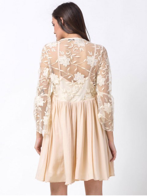 new Flare Sleeve Deep V Lace Panel Dress - OFF-WHITE XS Mobile