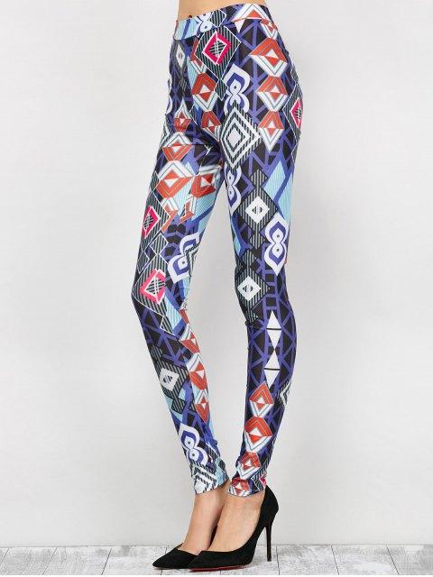 trendy High Waist Geometric Print Leggings - BLUE S Mobile