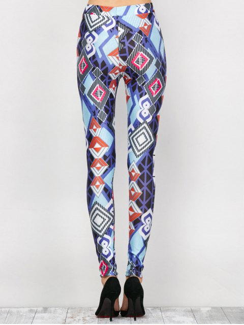 shops High Waist Geometric Print Leggings - BLUE L Mobile