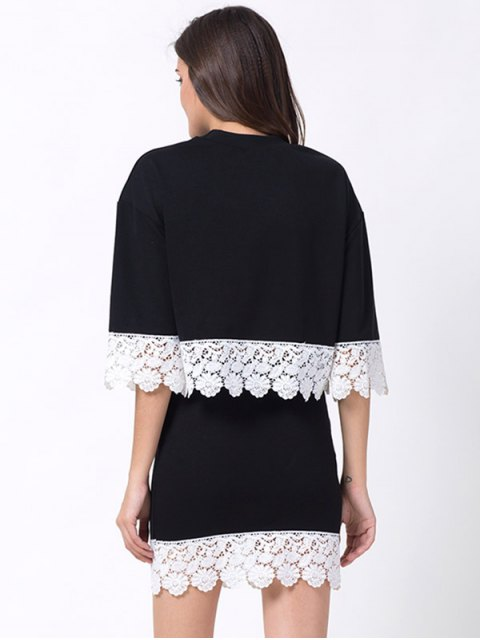 trendy Crew Neck Lace Panel T-Shirt with Mini Skirt - BLACK L Mobile